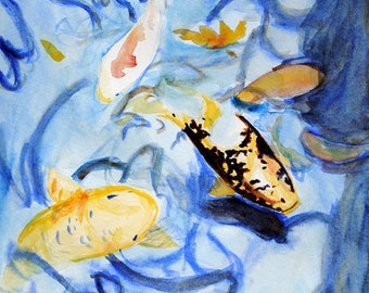 Koi Fish Pond Watercolor Painting, Original Artwork, Master Study of Rachel Lockwood, Japanese Nishikigoi Amur Carp Wall Art, Blue & Orange