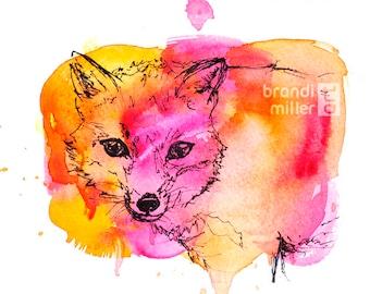 Fox Painting: Orange & Pink Watercolor Art of Red Fox, Original Woodland Animal Wall Art, Splatter Paint Nursery Decor Drawing Illustration