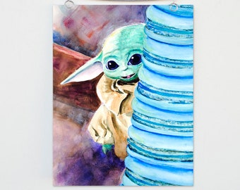 Baby Grogu Art Print, Star Wars Watercolor Painting, Baby Yoda Wall Art, Space Cookies, May the Force Be With You, The Mandalorian