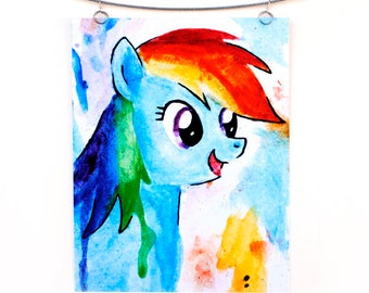 Rainbow Dash My Little Pony Watercolor Painting Print, Dripping Splatter Paint in Blue, Children's Artwork, Friendship is Magic
