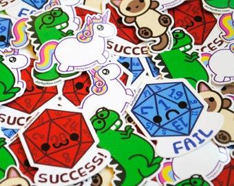 Kawaii Sticker Pack: Choose Five Weatherproof Vinyl Stickers, Dorky Dino, Chubby Unicorn, Siamese Cat, Critical Success Happy D20, Fail Dice