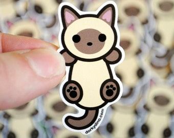 Siamese Cat Sticker: Hanging Cat Weatherproof Vinyl Stickers, Climbing Kitten, Burmese or Tonkinese Seal Point Kitty, Kawaii Collection