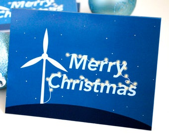 """Wind Turbine Powered Lights Spelling """"Merry Christmas"""" Christmas Cards: Eco Friendly Blank Greeting Card, Renewable Energy Holiday Greeting"""