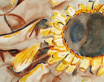 Sunflower Watercolor Painting, Original Artwork, Yellow Flower Wall Art, Sepia Red and Blue Sunflowers and Petals Fine Art, Still Life