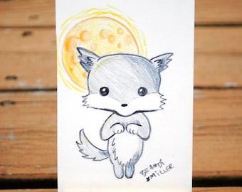 Kawaii Werewolf Drawing, Cute Wolf with Full Moon, Halloween Colored Pencil Drawing, Tiny 4x6 Wall Art, Original Miniature Artwork