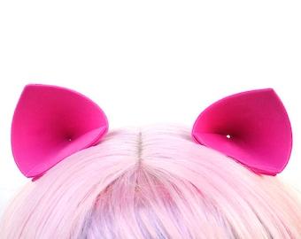 Hot Pink Costume Ears: Cat Ears, Pig Ear, My Little Pony Ears, Nekomimi Clip In Ears, Kawaii Pinkie Pie or Miss Piggy Halloween Costume