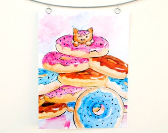 Donut Cat: Colorful Watercolor Painting Print of a Kitten in Pile of Sprinkled Donuts, Doughnut Cats Wall Art Illustration by Brandi Miller
