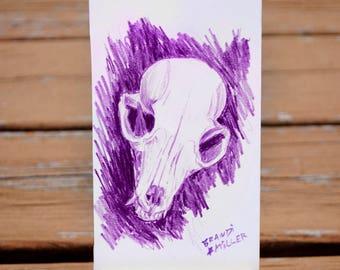 Fox Skull Drawing, Macabre Halloween Art, Animal Skeleton Illustration, Purple Bones Colored Pencil Tiny 4x6 Wall Art, Original Mini Artwork