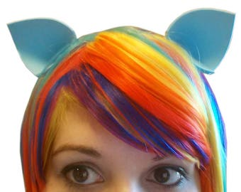 Light Blue Costume Ears: My Little Pony Rainbow Dash Ears, Clip In Ears, Teal Cat Ears, Nekomimi Ear, Kawaii Halloween Costume