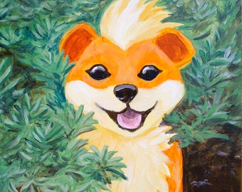 Growlithe Stuck in Bush Acrylic Canvas Painting, Original Artwork, Pokemon Wall Art, Geeky Video Game Decor, One of a Kind Everything is OK