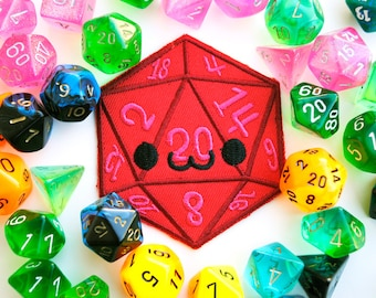 Smiling D20 Iron On Patch: Happy Dice used in Tabletop Games like Dungeons and Dragons, Funny Gifts for Men, Gift for Geeky Girls