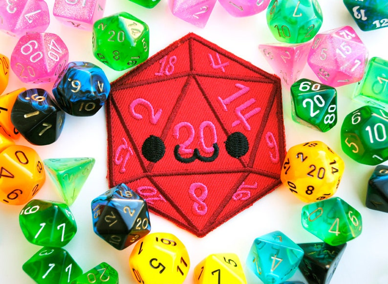 Smiling D20 Iron On Patch: Happy Dice used in Tabletop Games image 0