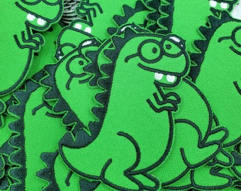 Dorky Dino Iron On Patch: Cute T-Rex with Glasses and Buck Teeth, Kawaii Dinosaur, Dorkasaurus