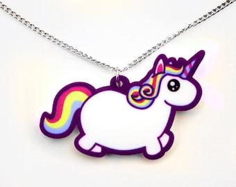 Chubby Unicorn Necklace, Rainbow Fat Pony Pendant, Colorful Funny Mythical Creature, Kawaii Cute Uni