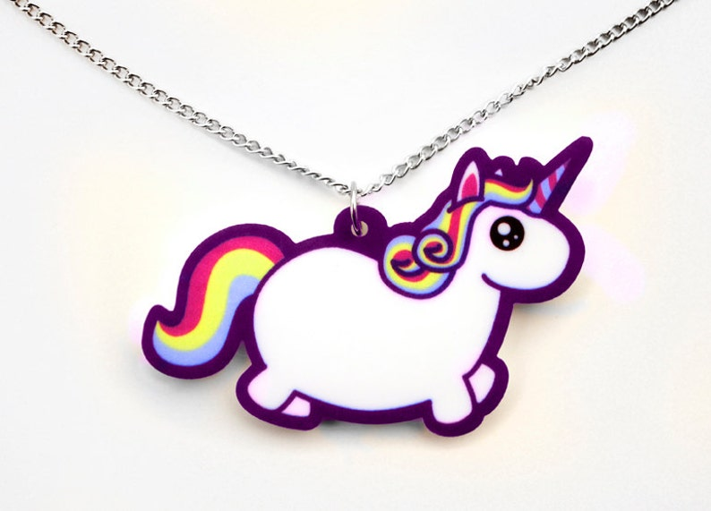 Chubby Unicorn Necklace Rainbow Fat Pony Pendant Colorful image 0