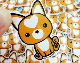 Shiba Inu Sticker: Cute Dog Weatherproof Vinyl Stickers, Orange Puppy with Heart, Kawaii Collection Decals, Doge Meme