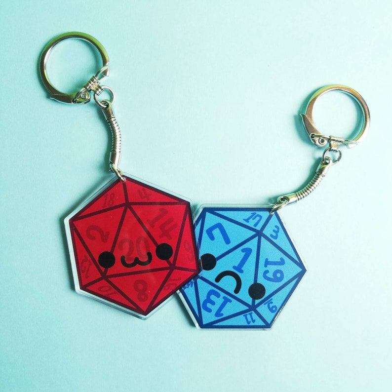 D20 Double Sided Keychain Happy Sad Dice Key Chain Dungeons & image 0