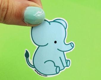 Cute Elephant Sticker: Weatherproof Vinyl Animal Stickers, Endangered Animals, Teal Elephants Kawaii Collection