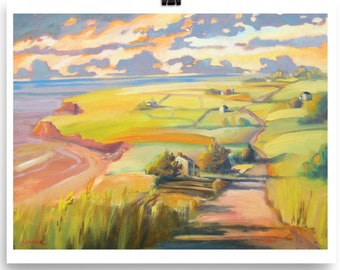 wall art, PEI, landscape, art print, painting, Sally Chupick, sunset, art, home decor, wall decor, coastal, east coast print, beach decor