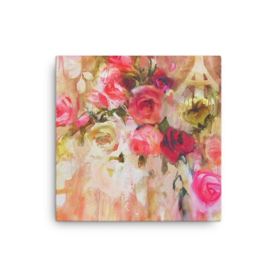 Pink Flowers Contemporary Modern Floral SINGLE CANVAS WALL ART Picture Print