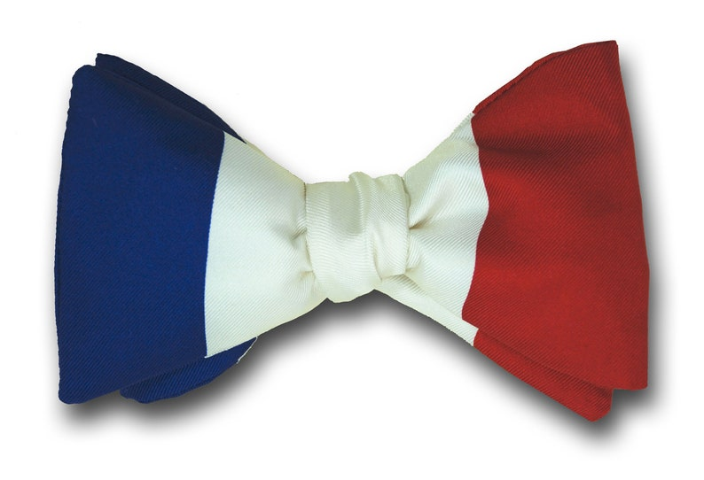 3ac0284862d6 Men's Flag of France SILK Freestyle Bow Tie French Flag | Etsy
