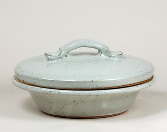 Serving dish, casserole holds 3 cups, glazed in white