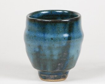 Stoneware yunomi, blue glaze