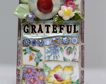 GRATEFUL, mosaic wall art, gift, mosaic, mosaic art