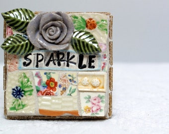 SPARKLE,  mosaic wall art, gift