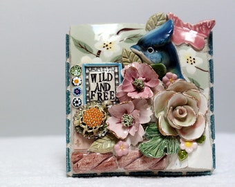 WILD AND FREE,  mosaic, pique assiette, mosaic art, birdhouse, bugs