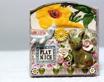 PLAY NICE, turtle, bunny rabbit, mosaic, pique assiette, mosaic art