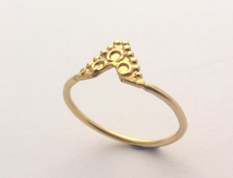 Textured 14k Bohemian Gold ring women Triangle ring Stacked gold ring Indian Ethnic Solid gold ring Yellow gold ring Boho gold ring