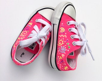 Baby Converse Sneakers, Hand-painted Sneakers, Baby Chucks size 5