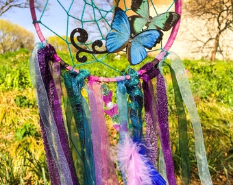 Butterfly Purple Dream Catcher, Dreamcatcher , Fairy Decor, Dreamcatchers,  Girl Bedroom Decor, Baby Nursery Decor, Fantasy Decor, Gifts