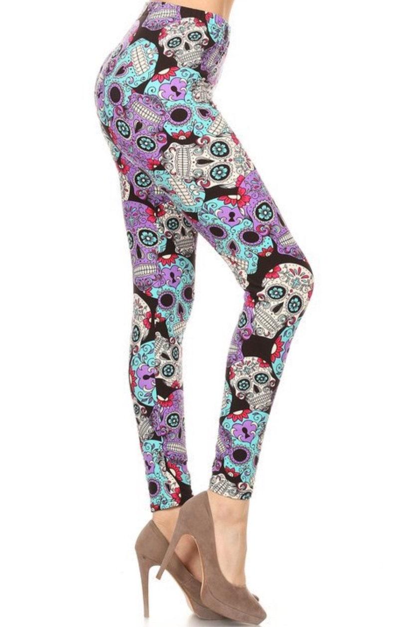 b65996a18 Colorful Day of the Dead Leggings Womens Skull Leggings