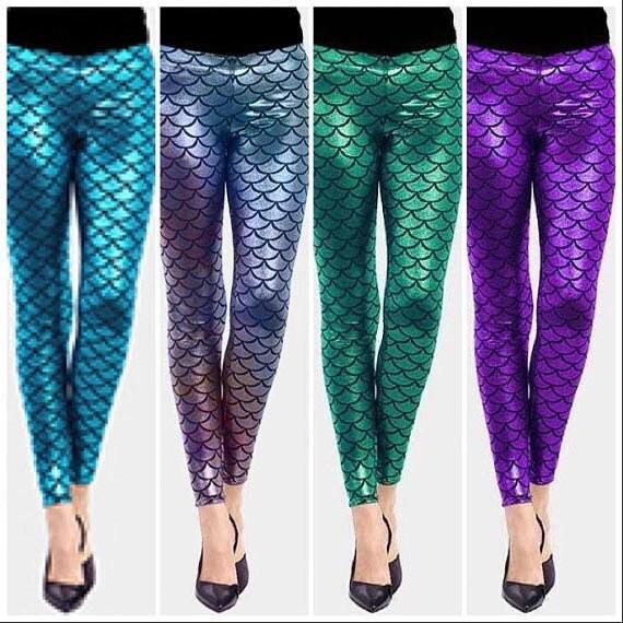 Femme argent métallisé sirène écailles de poisson leggings robe fantaisie taille 8 /& 10