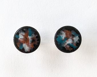 "marbled enamel stud earrings ""Nebula"" handmade, unique"