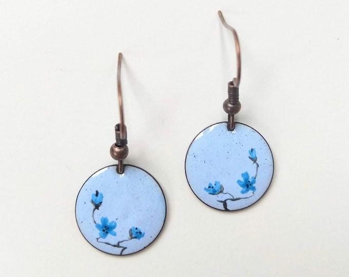 handmade light blue enamel earrings painted with flowers