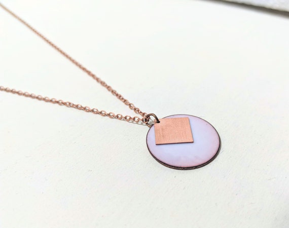 Geometric necklace in enamel and copper pink opal white