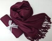 WINE PASHMINA Shawl.Pashmina Scarf. Pashmina. Bridesmaid shawl. Bridesmaid gifts. Bridal Shawl or Wrap. Wedding Favors