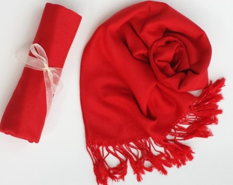 APPLE RED PASHMINA Shawl. Bridesmaid shawl. Bridesmaid gifts. Bridal Wrap. Red Scarf. Scarf