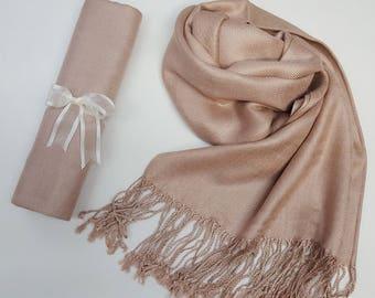TAUPE BEIGE ( Beige) Pashmina Shawl. Nude Shawl. Bridesmaid gifts. Bridesmaid shawls. Pashmina Scarf. Wedding favor.