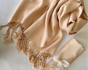 CHAMPAGNE Pashmina Shawl. Nude Shawl. Bridesmaid gifts. Bridesmaid shawls. Pashmina Scarf. Wedding favor.