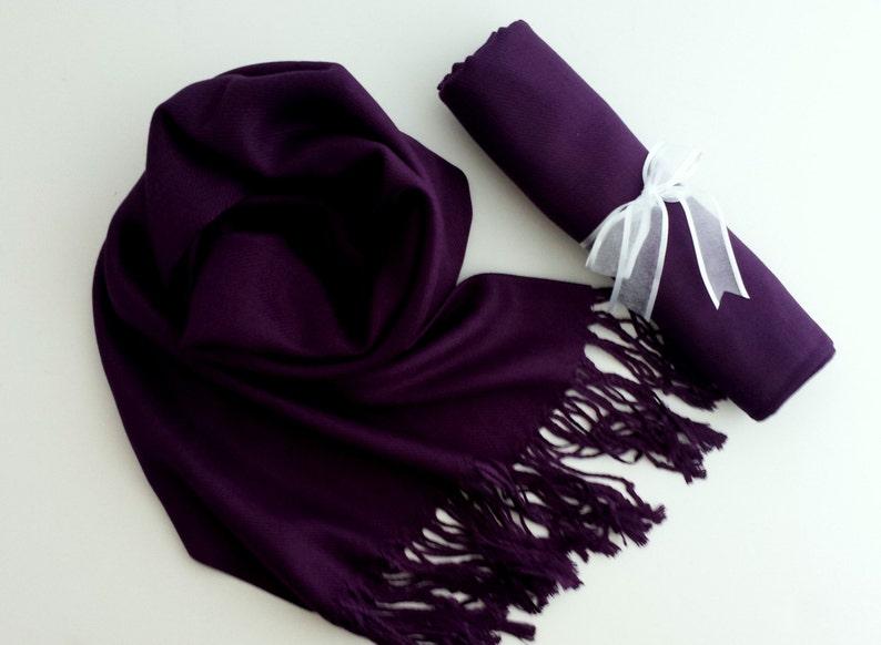 EGGPLANT Dark Purple Pashminas. Bridesmaid Dark purple image 0