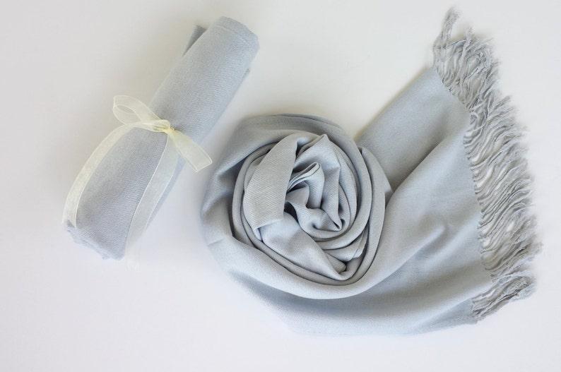 SILVER GRAY  Light Gray  Pashminas. Bridesmaid Silver Gray image 0