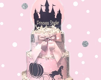 Pink and Silver Baby Princess Diaper Cake