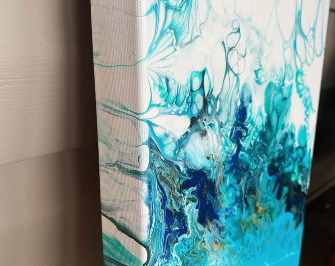 "Plunge- Original Fluid Art Acrylic Painting on Canvas- 24""x 8"""