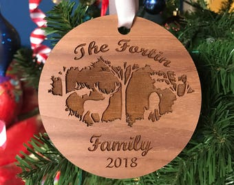 Personalized Family Name Round Wood Ornament with Forest and Deer Scene