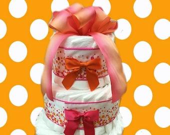 3 Layer Festival Pink -  Baby Shower Diaper Cake Gift Set