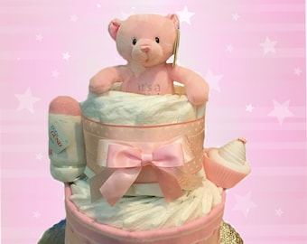 It's a Girl Baby Bear Pink Baby Shower Diaper Cake Gift Set